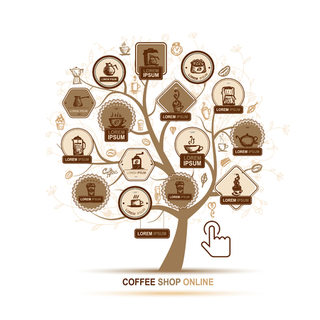coffee tree: Infographic concept -  tree with coffee icons for your design. Vector illustration