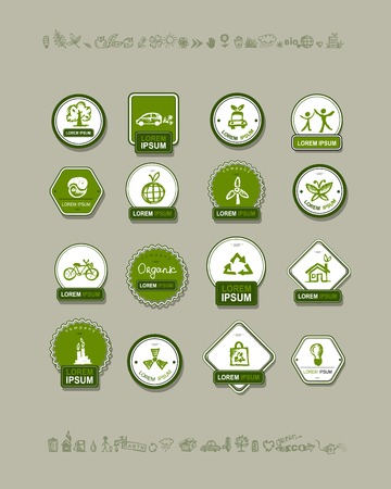 eco house: Ecology labels, set for your design. Vector illustration