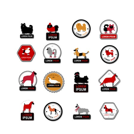 animal background: Set of labels with dogs for your design. Vector illustration Illustration