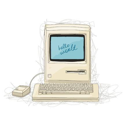 retro computer: Retro computer, sketch for your design. Vector illustration