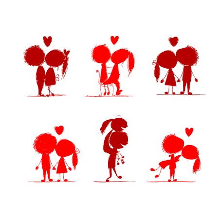 children drawing: Couple in love together, valentine sketch for your design. Vector illustration