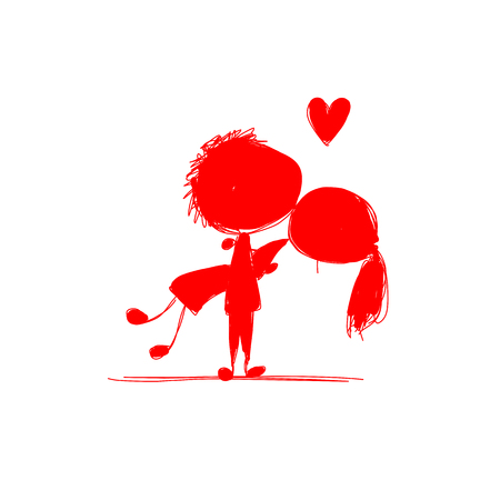 couple together: Couple in love together, valentine sketch for your design. Vector illustration