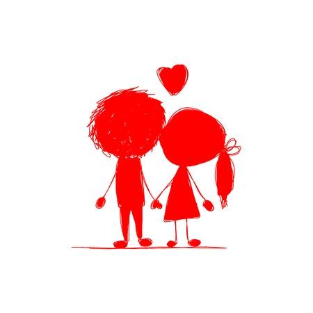 dessin enfants: Couple dans l'amour ensemble, croquis de valentine pour votre conception. Vector illustration