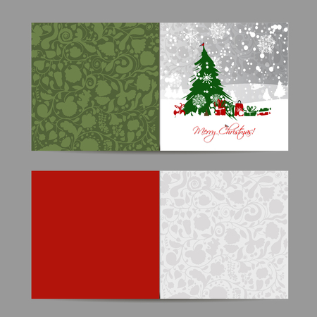 box template: Christmas card, sketch for your design. Vector illustration
