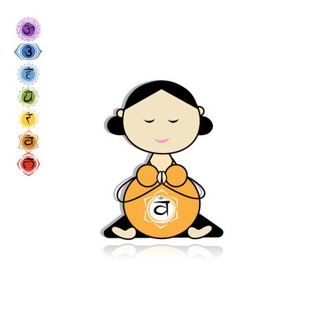 lotus pose: Pregnant yoga, woman in lotus pose for your design. Illustration