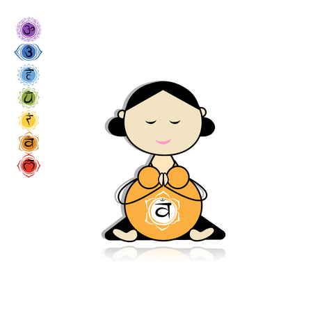 Pregnant yoga, woman in lotus pose for your design. Illustration