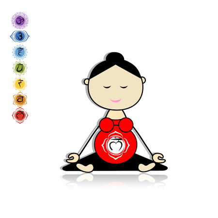 Pregnant yoga, woman in lotus pose for your design.