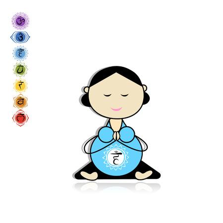 lotus pose: Pregnant yoga, woman in lotus pose for your design.