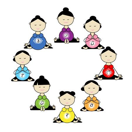 pregnancy yoga: Pregnant yoga, women group for your design. Illustration