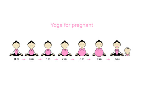 pregnancy woman: Stages of pregnancy, woman in lotus pose for your design. Vector illustration Illustration
