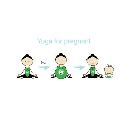 mother and baby: Pregnant yoga, women group for your design. Vector illustration Illustration