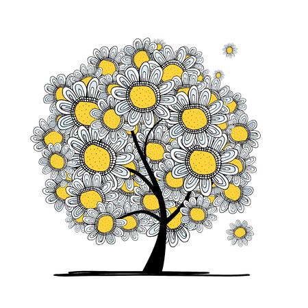 あなたの設計の抽象的な花のツリー。ベクトル図