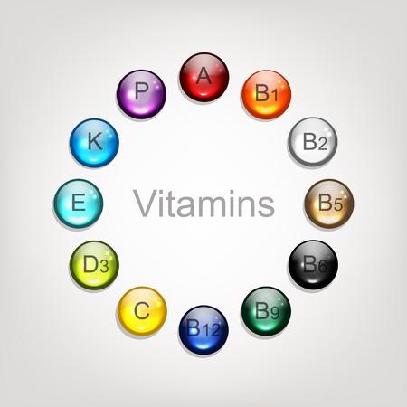 Colección de vitaminas para su diseño. ilustración vectorial Foto de archivo - 50938162
