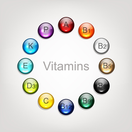 Vitamins collection for your design. Vector illustration