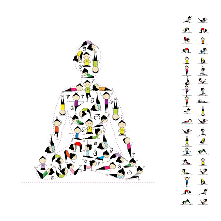 asanas: Yoga lotus pose made from asanas for your design. Vector illustration