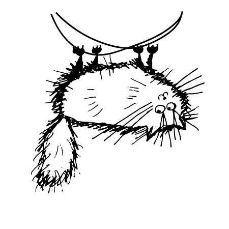 Funny fluffy cat, sketch for your design. Vector illustration