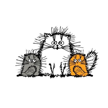 koty: Puszyste koty rodziny, szkic do projektowania. ilustracji wektorowych