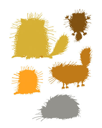 fluffy: Fluffy cats silhouettes, sketch for your design. Vector illustration