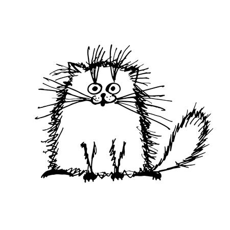 fluffy: Funny fluffy cat, sketch for your design. Vector illustration