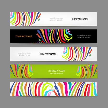 animal print: Conjunto de banderas, diseño del estampado de zebra colorido, ilustración vectorial Vectores