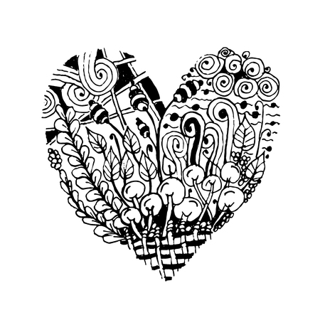 etnic: Zentangle heart shape, sketch for your design. Vector illustration Illustration