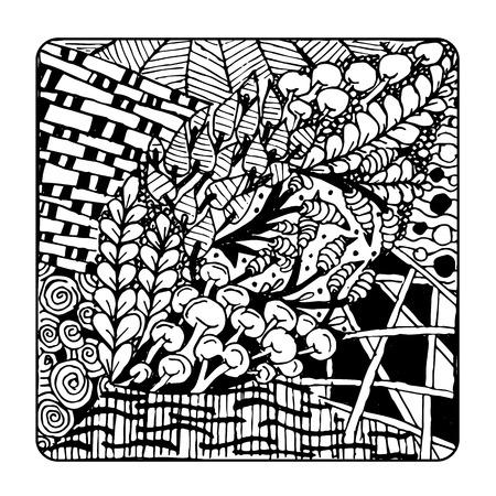 vintage patterns: Zentangle ornament, sketch for your design. Vector illustration Illustration