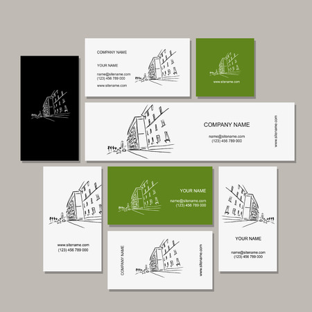business district: Business cards design with cityscape sketch. Vector illustration Illustration