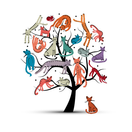 smiling cat: Cats tree, childish style. Sketch for your design. Vector illustration