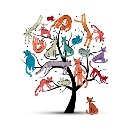 tronco: Gatos árbol, el estilo infantil. Boceto de su diseño. ilustración vectorial Vectores