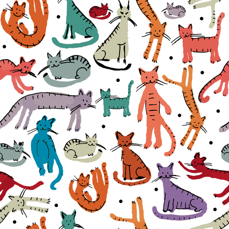 Cute cats, seamless pattern. Sketch for your design. Vector illustration