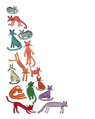 silueta humana: gatos lindos, estilo infantil. Boceto de su dise�o Vectores
