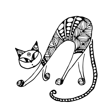 cat: Black cat, zentangle style for your design. Vector illustration