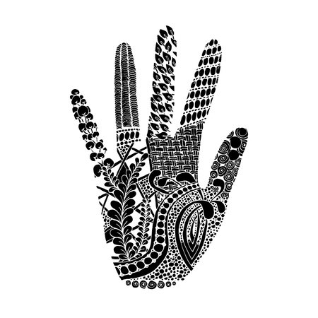 palm of hand: Floral palm, hand drawn zentangle style for our design. Vector illustration