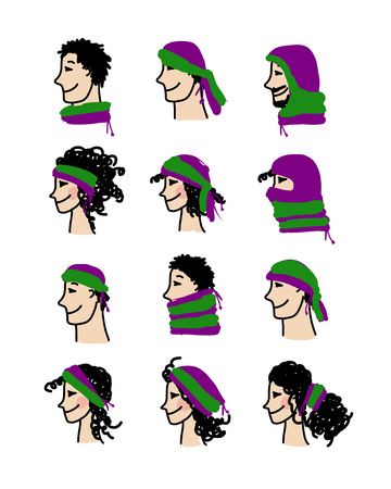 for boys: Hats transformer, ways of dressing for boys and girls Illustration