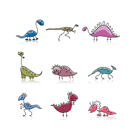 Dinosaurs collection, sketch for your design. Vector illustration Ilustração