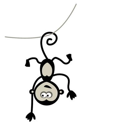 tail: Funny monkey for your design. Vector illustration Illustration