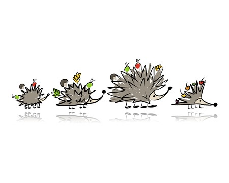 prickly fruit: Funny hedgehog family, sketch for your design. Vector illustration