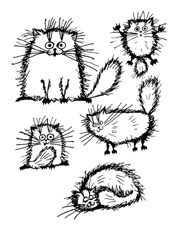 Flauschige weiße Katzen Sammlung, Skizze für Ihr Design. Vektor-Illustration Standard-Bild - 51825215