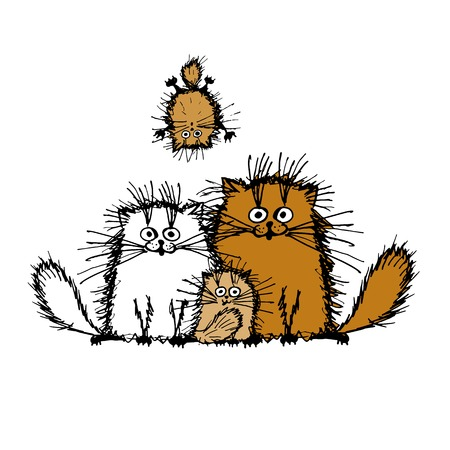 person silhouette: Fluffy cats family, sketch for your design. Vector illustration