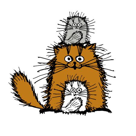 Gatti Fluffy famiglia, schizzo per la progettazione. illustrazione di vettore