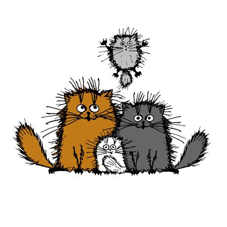Gatos mullidas familia, boceto de su diseño. ilustración vectorial Foto de archivo - 51825221