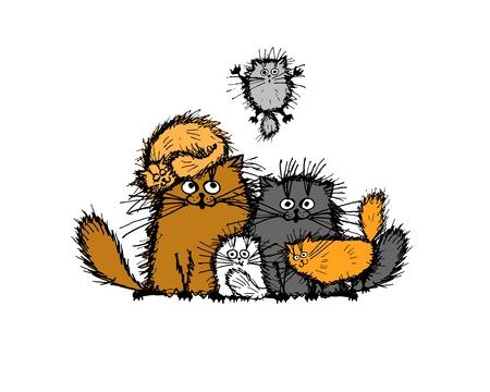 フワフワした猫家族、スケッチ、デザイン。ベクトル図