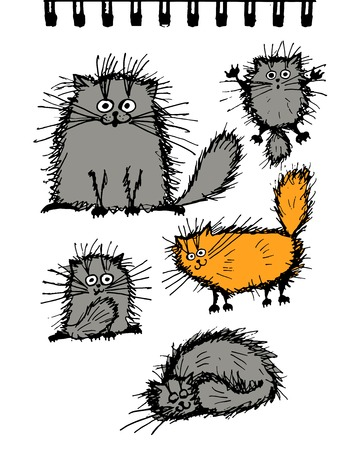 Fluffy cats collection, sketch for your design. Vector illustration