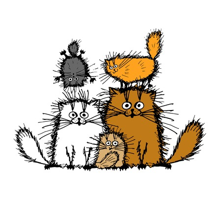 gatos mullidas familia, boceto de su diseño. ilustración vectorial Vectores