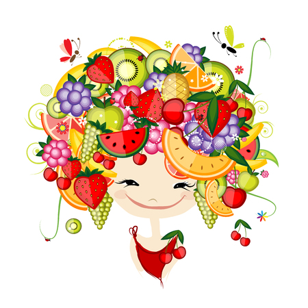 woman face: Girl with fruits on head fro your design. Vector illustration Illustration