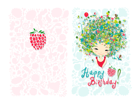 cartoon bouquet: Birthday card design with holiday girl. Vector illustration