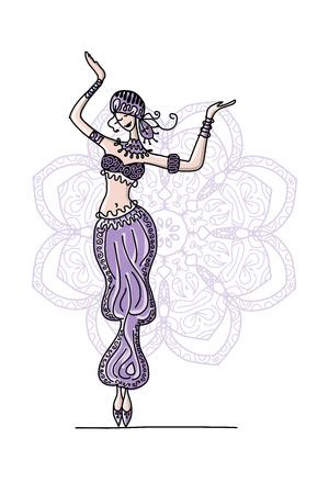 danza del vientre, boceto de su diseño. ilustración vectorial