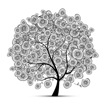 black and white image drawing: Floral tree for your design. Vector illustration