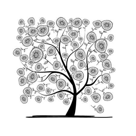 Floral tree pour votre conception. Vector illustration