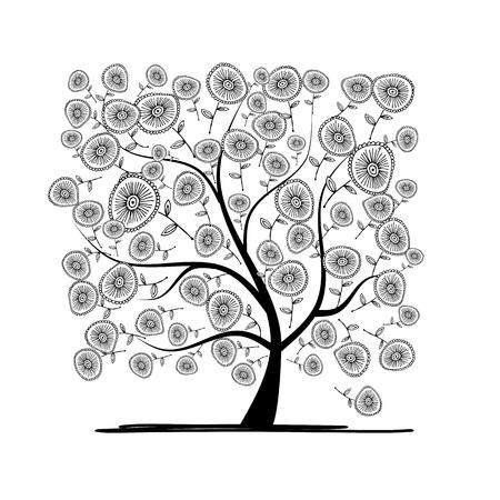 arboles blanco y negro: �rbol floral para su dise�o. Ilustraci�n vectorial